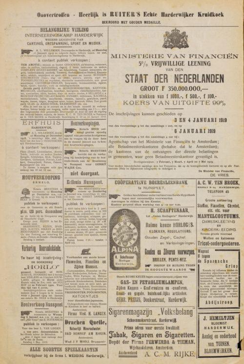Krantenartikel 13-01-1919 Uitverkoop Interneringskamp