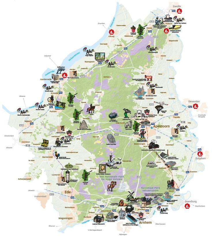 Kaart Veluwe attracties